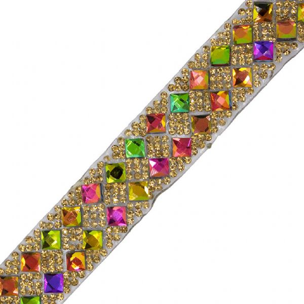 1 metre x 19 mm Rainbow and gold crystals